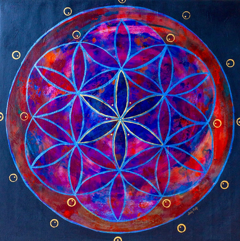 "Flower of Life, 24"" x 24"" Acrylic on Canvas by Clair Oaks"