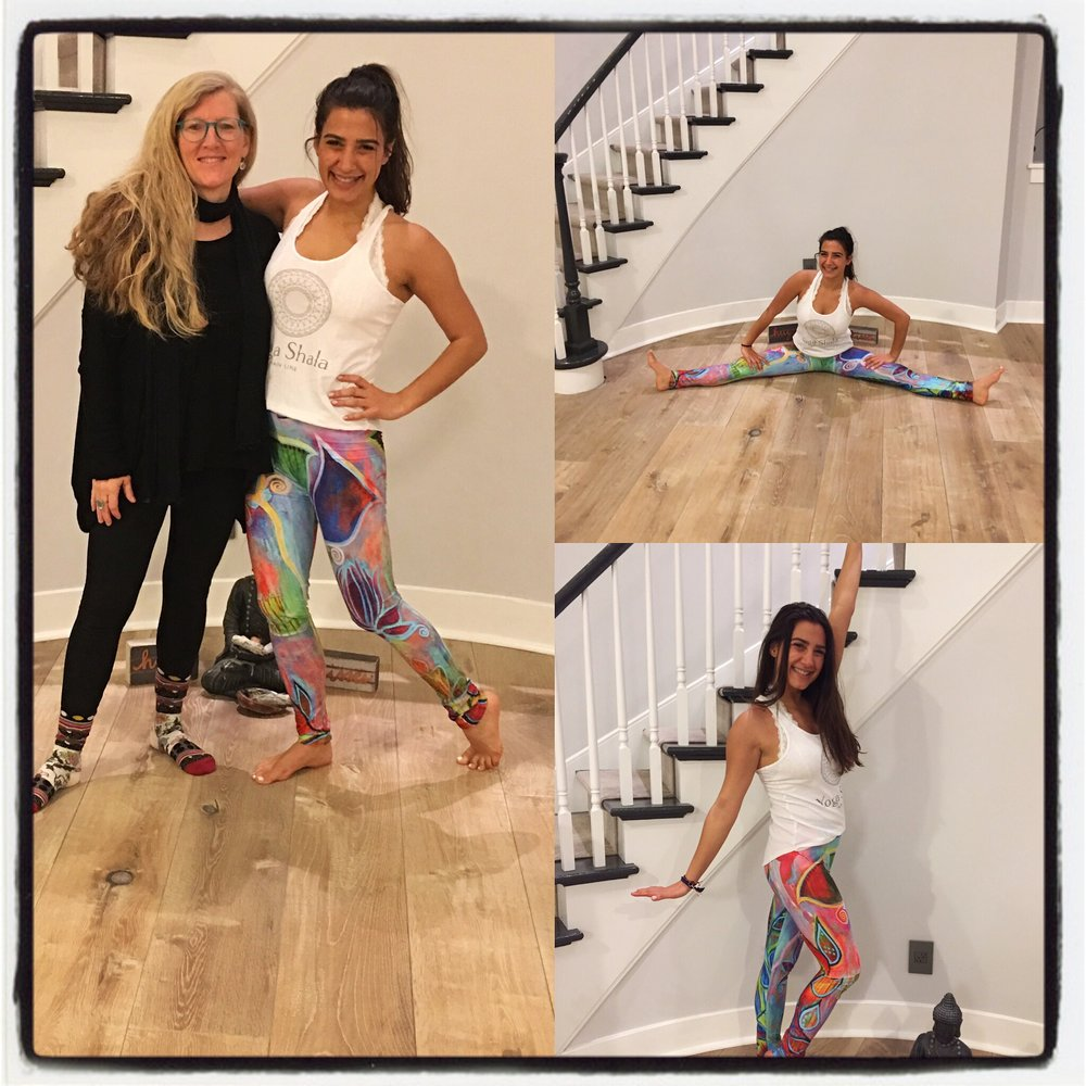 Clair  with yoga teacher (and friend) Dani Pogochefsky, who is showing one of the legging designs in action.