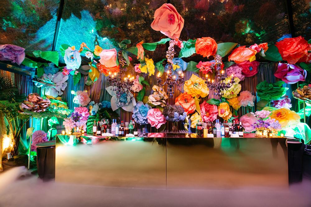 VAN WYCK A Paper Flower Garden Flanks The Bar At An Alice In Wonderland  Themed Debutante