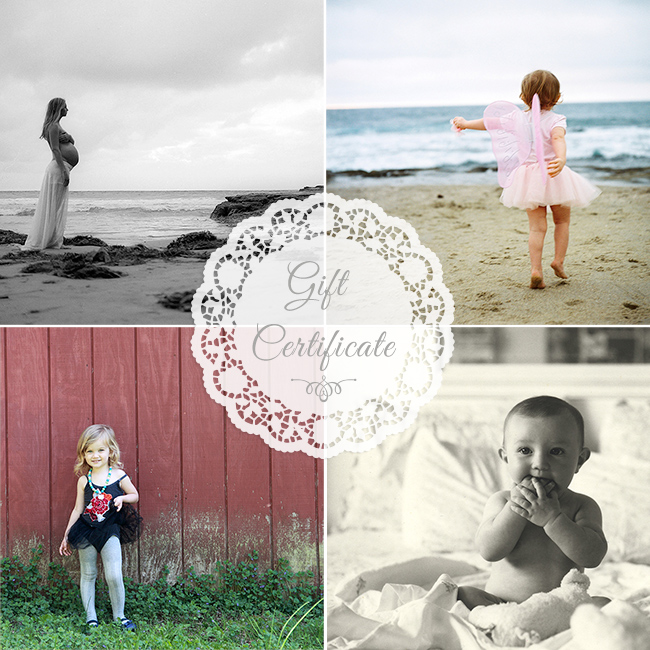 SAN DIEGO PHOTOGRAPHY GIFT CERTIFICATE SIOBHAN GAZUR