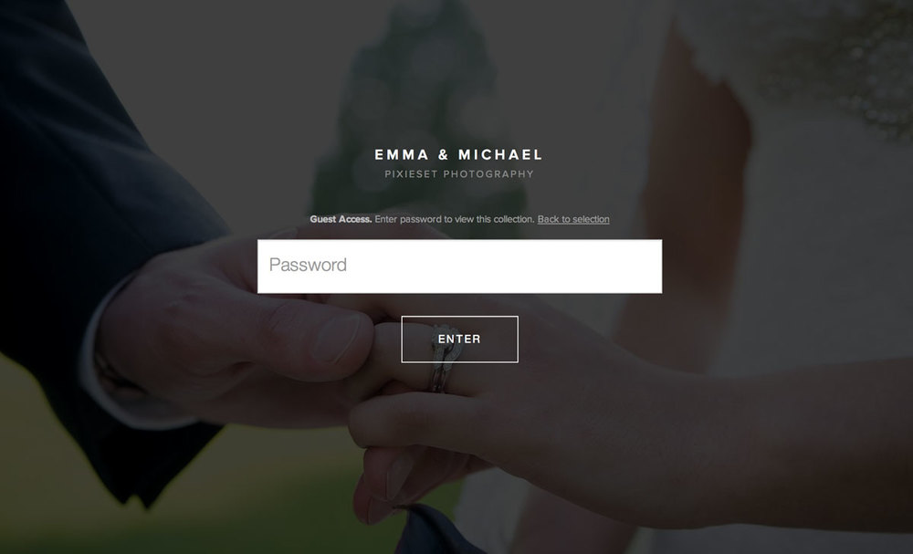 Login Screen fro Guest Access | Your Secure Online Client Gallery - Siobhan Gazur Photography San Diego
