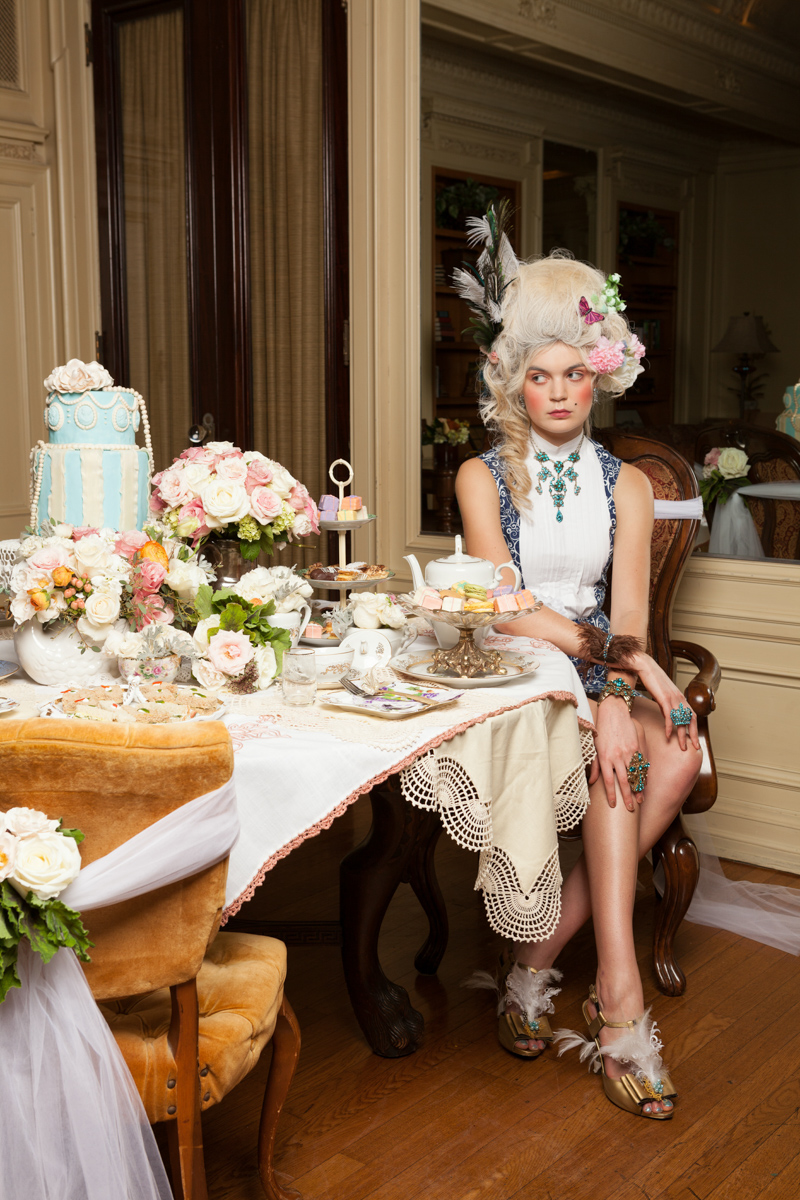 Model sitting by the table | San Diego Fashion Photography