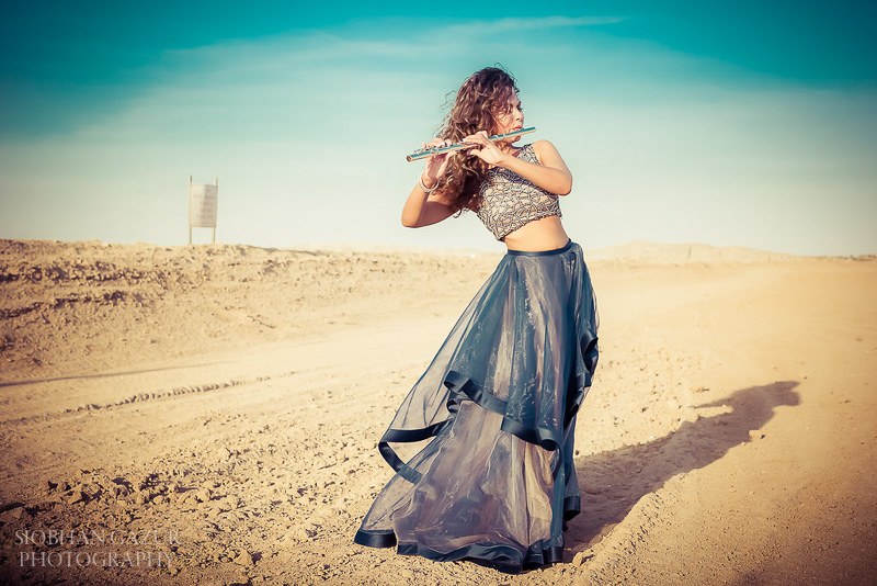San Diego Fashion Photographer - Musician Portrait with Flute - California Desert