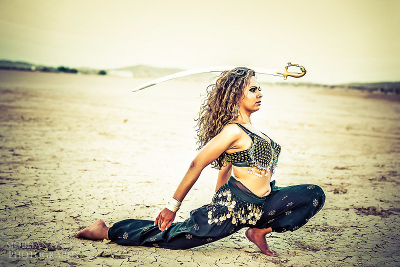 San Diego Fashion Photographer - Portrait of a Woman Sword Belly Dancer.