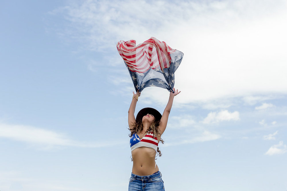 San Diego Fashion Photographer - Beautiful Portrait of a Woman With American Flag - 4th of July