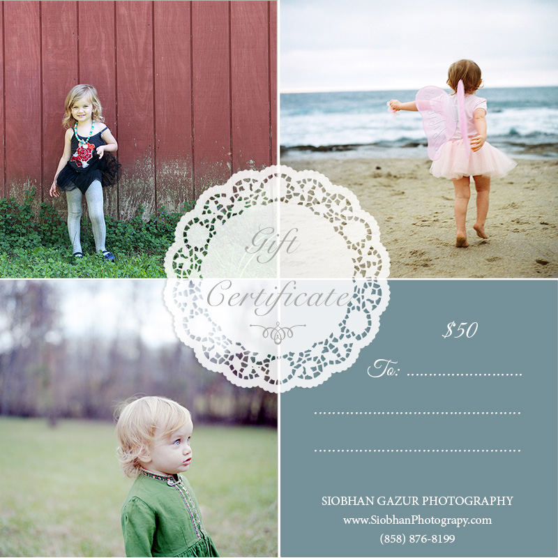 GIFT CERTIFICATE FAMILY BEACH PHOTOGRAPHY SAN DIEGO