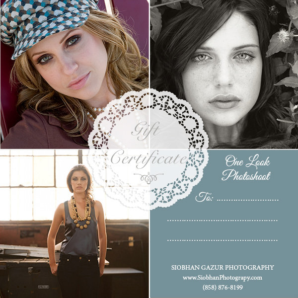 Photography Gift Certificate - Model Portfolio