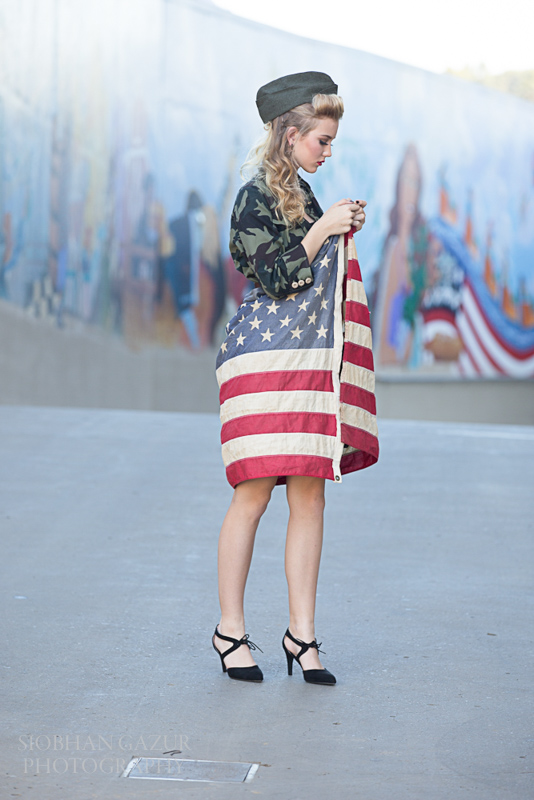 San Diego Fashion Photographer | Woman with American Flag