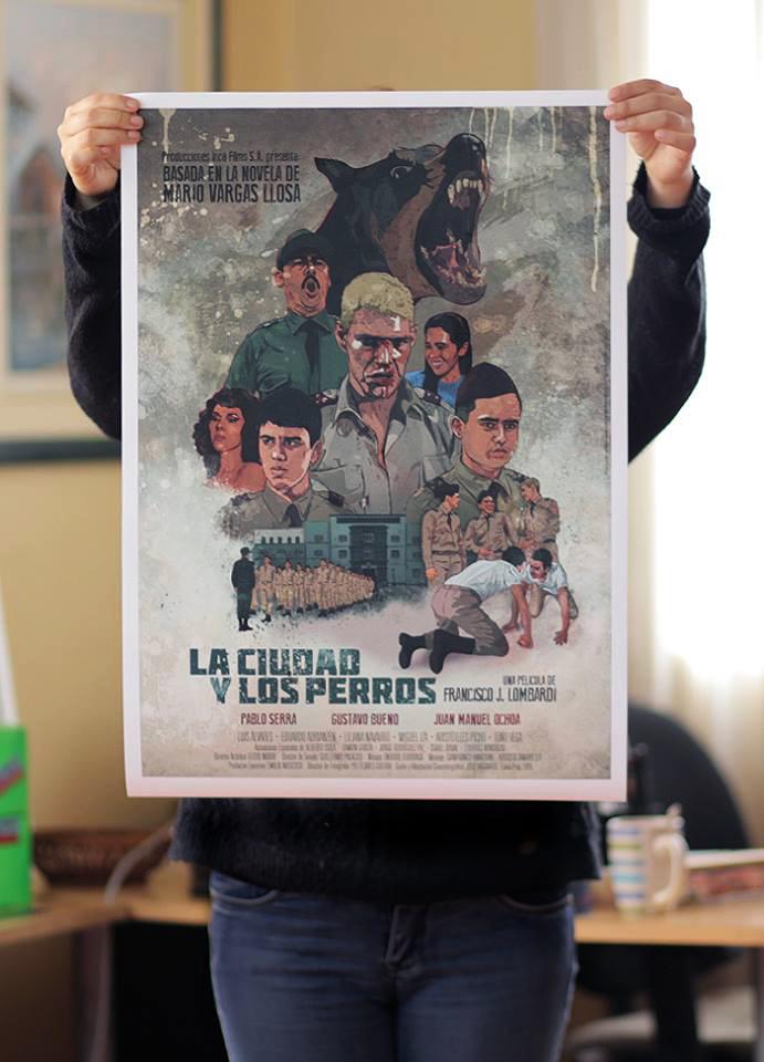 Poster 'LA CIUDAD Y LOS PERROS'  Impresión en papel HQ waterproof 55 x 40 cm ----  S/.75  /  US$25   1.20 x 70 cm ---- S/.130  /  US$40  EN STOCK