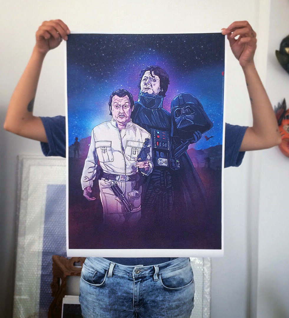 DARTH MANOLO & LUKE MACHUCAO   Impresión en papel HQ waterproof · Firmados  55 x 40 cm ----  S/.70   /   US$25   1.20 x 70 cm ---- S/.130  /  US$40  EN STOCK