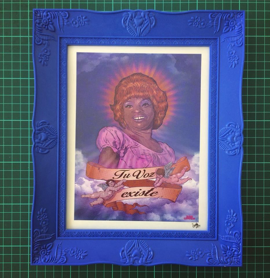 LUCHA REYES - 'TU VOZ EXISTE'  Enmarcado Impresión en papel HQ waterproof · Firmados 22 x 25 cm ----  S/.75  /  US$25   EN STOCK