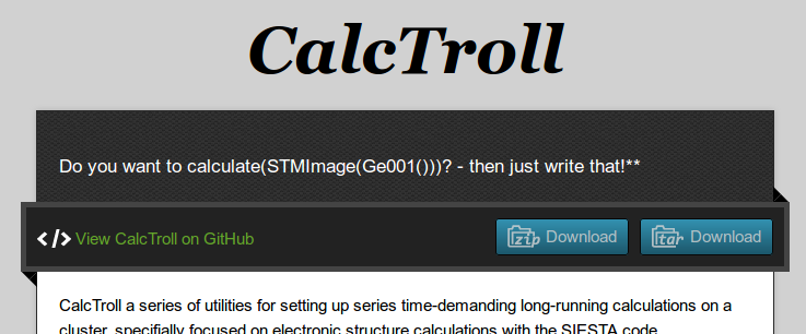 The CalcTroll interface