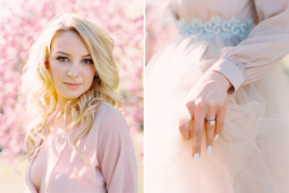 Calgary Wedding Photographers | Cherry Blossoms Wedding | Blush Wedding Dress | Bridal Editorial