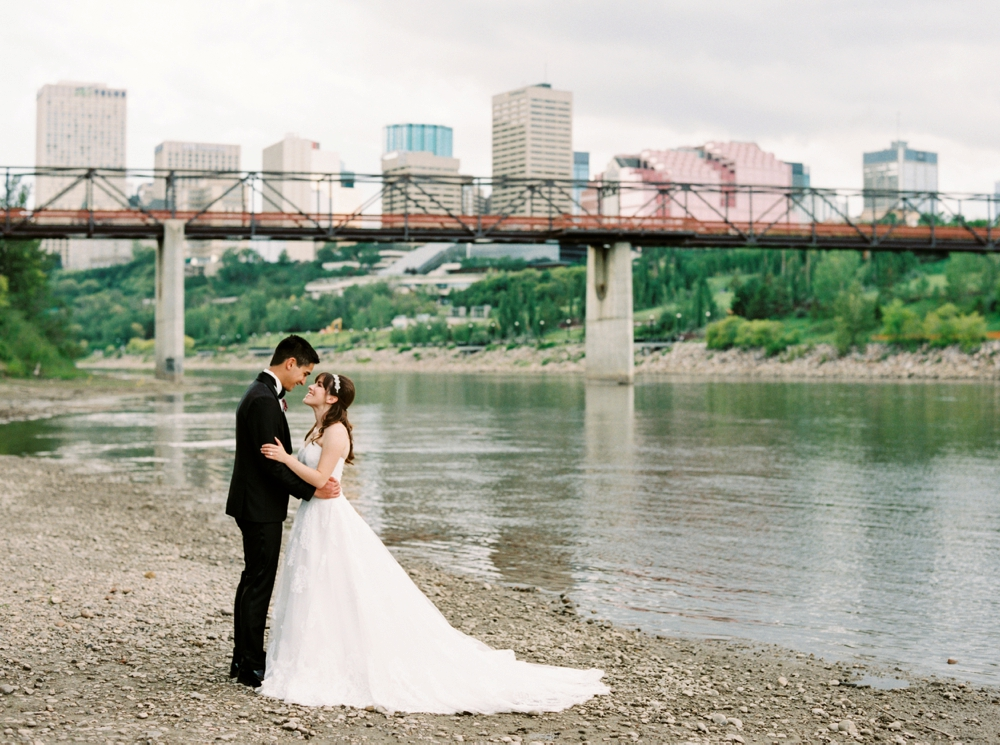 Calgary Wedding Photographer | Downtown Edmonton Wedding | Chateau Lacombe Wedding Photography | Edmonton Riverbank Wedding