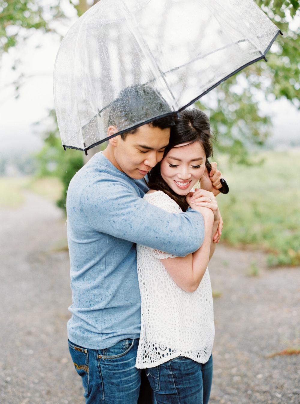Calgary Wedding Photographers | Nose Hill Park Engagement Session | Rainy Engagement Photos | Engagement Photography