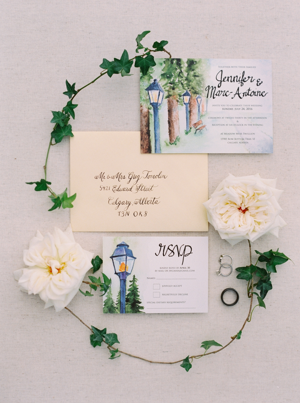 Calgary Wedding Photographer | Meadow Muse Pavilion Wedding | Canmore Photographers | Calligraphy and watercolor invites