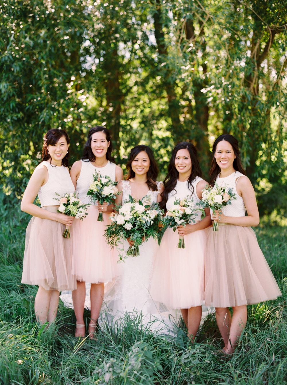 Calgary Wedding Photographer | Meadow Muse Pavilion Wedding | Canmore Photographers | Fish Creek Park | Bridesmaids crop top & skirt