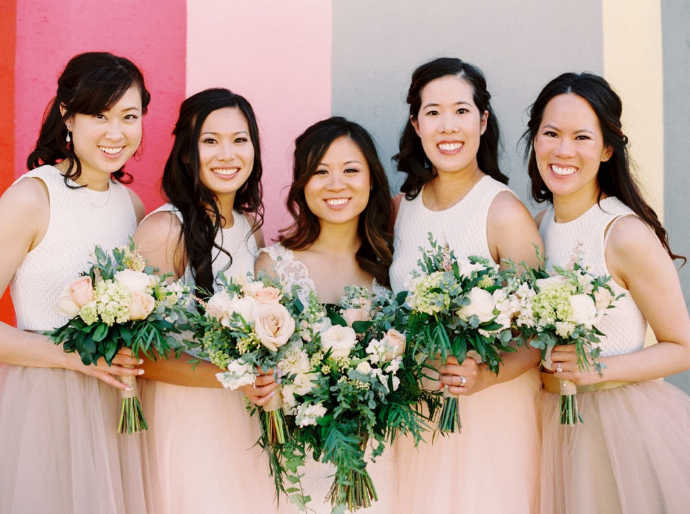 Calgary Wedding Photographer | Meadow Muse Pavilion Wedding | Canmore Photographers | Fish Creek Park | Bridesmaids blush pink croptop and skirt