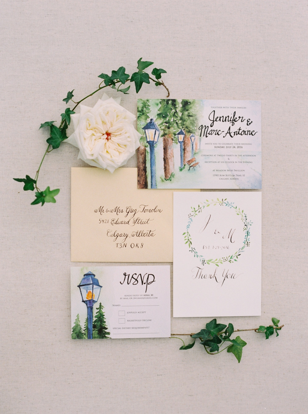 Calgary Wedding Photographer | Meadow Muse Pavilion Wedding | Canmore Photographers | Fish Creek Park Tent Wedding | calligraphy wedding invitation suite
