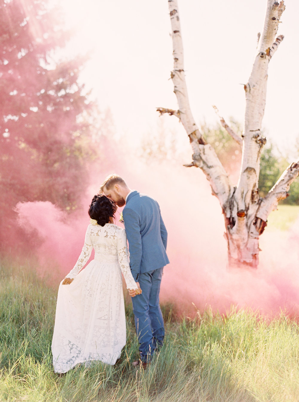 calgary wedding photographers | Smoke bomb wedding photo | fine art film photographers