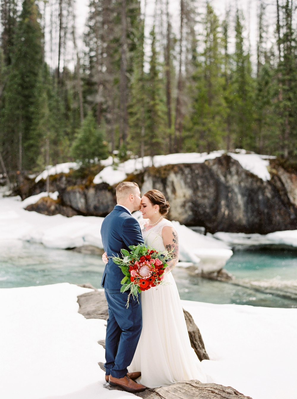 Emerald Lake Lodge Field British Columbia Elopement Photographers | Fine art film destination wedding photography | winter wedding