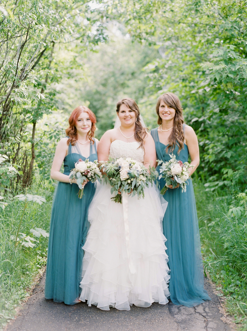 Edmonton & St.Albert Wedding Photographers | Justine Milton fine art film wedding photography | vintage teal bridesmaid dress Jenny Yoo