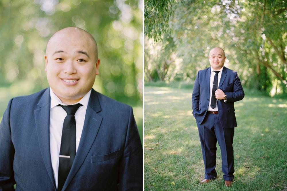 groom portrait | BHLDN wedding dress | Justine milton fine art wedding photographers | calgary wedding at the lake house