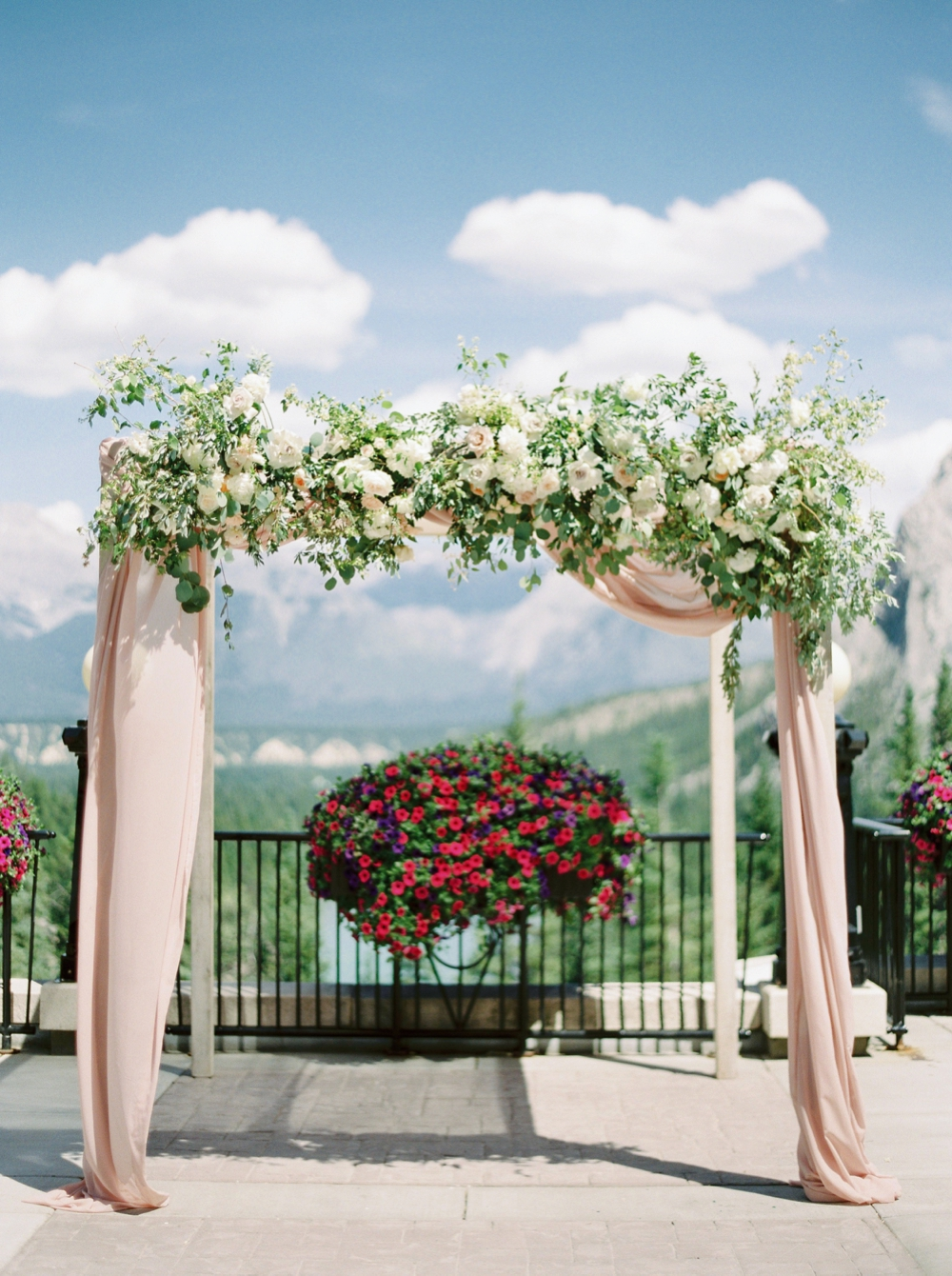 Ceremony floral arch | fairmont banff springs hotel wedding ceremony canadian rocky mountains | banff wedding photographers