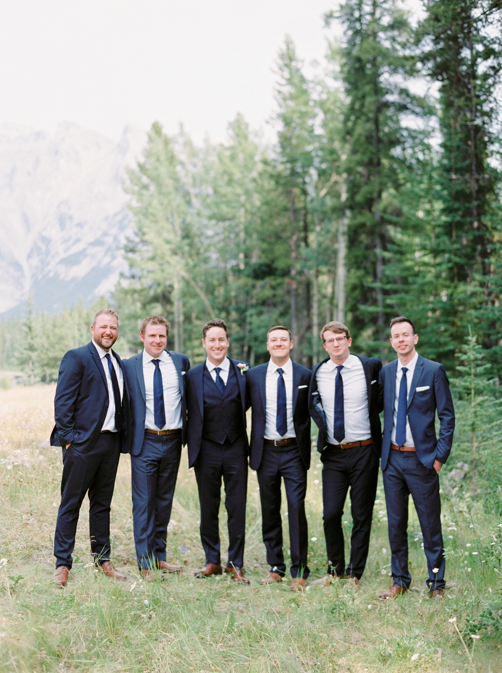 groomsmen | Banff springs wedding photographers | fairmont banff rocky mountain wedding | Justine Milton fine art film Photography