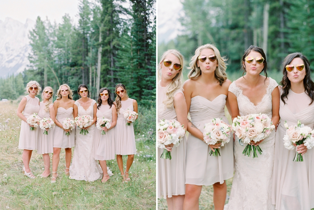 nude bridesmaids dresses | Banff springs wedding photographers | fairmont banff rocky mountain wedding | Justine Milton fine art film Photography