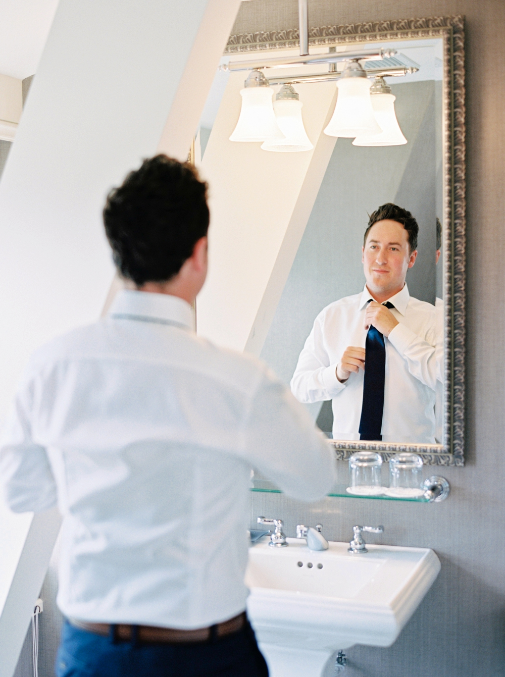 groom getting ready | Banff springs wedding photographers | fairmont banff rocky mountain wedding | Justine Milton fine art film Photography