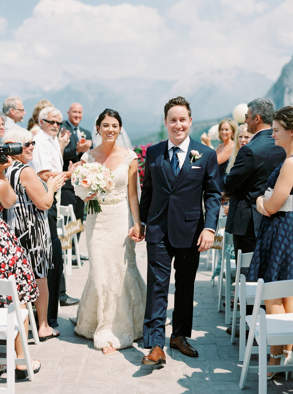 outdoor ceremony | Banff springs wedding photographers | fairmont banff rocky mountain wedding | Justine Milton fine art film Photography