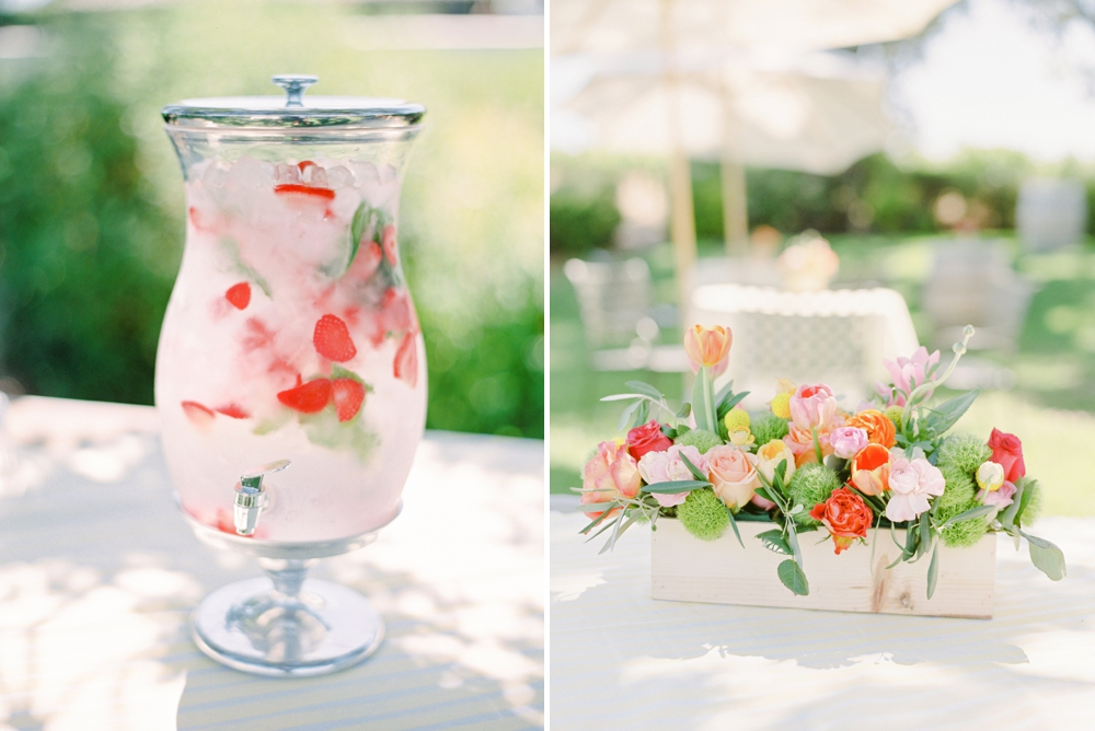 California Gainey Vineyard Wedding Welcome Reception | summer spring wedding decor flower arrangement and drink dispenser