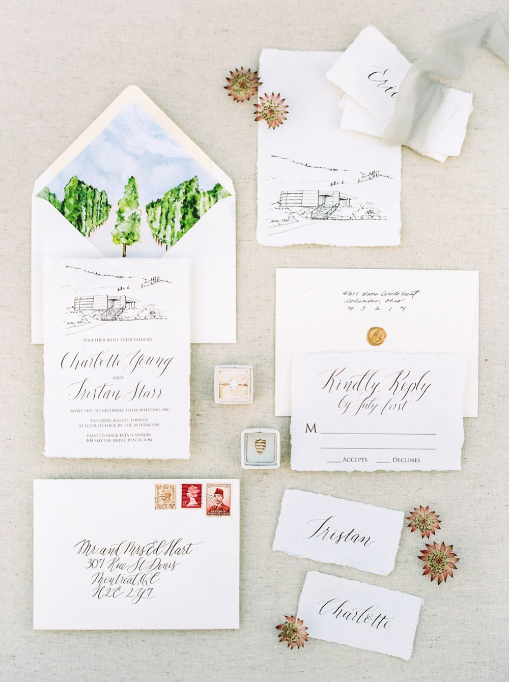 watercolor painting and calligraphy wedding stationery invitation | Painted Rock Winery | Penticton wedding photographer | Kelowna Wedding photography | Okanagan Wedding photographers