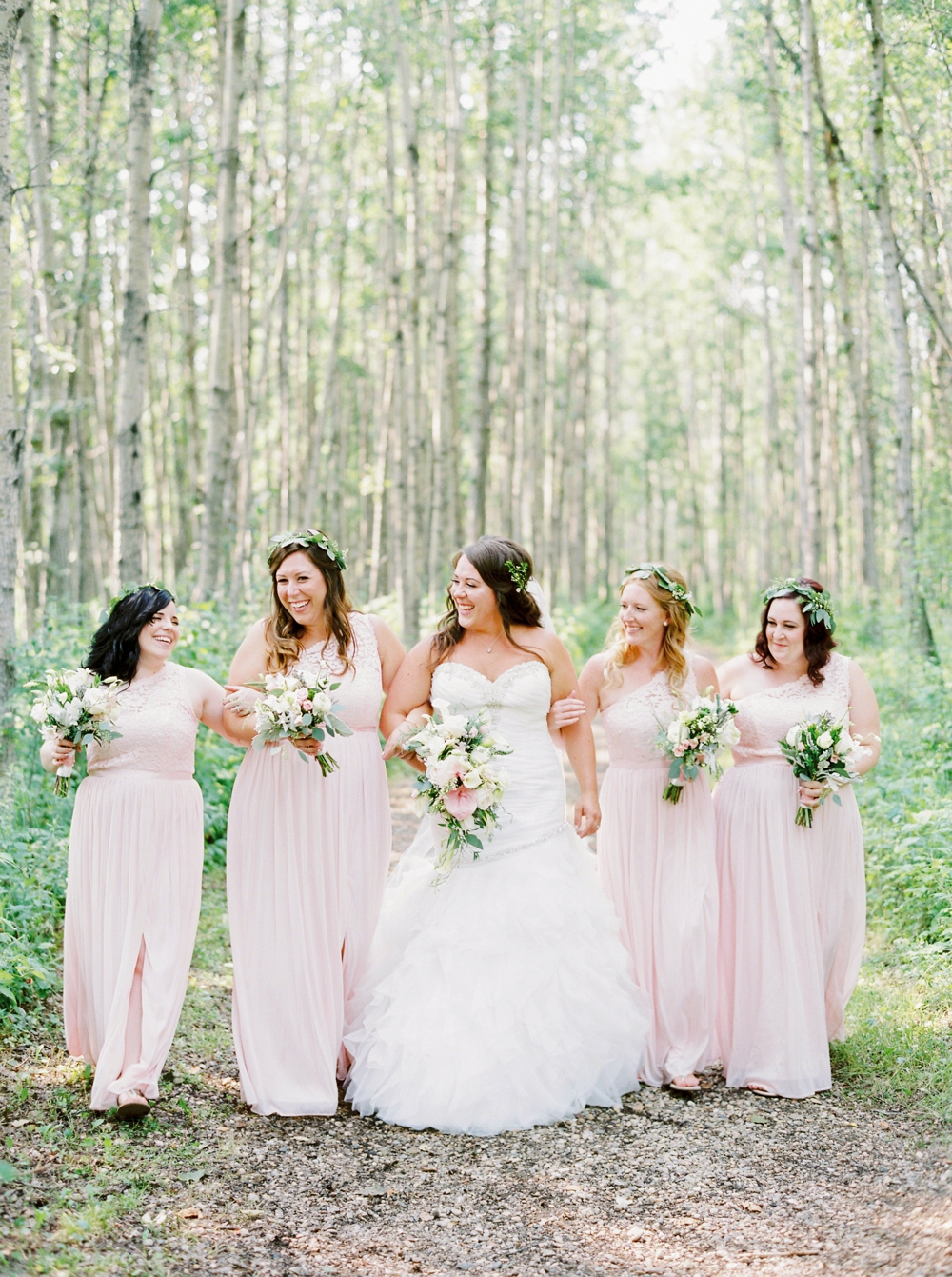 Edmonton Wedding Photographers | bridesmaid portraits blush dresses flower crowns Wizard Lake | Justine Milton Fine Art Film Photography