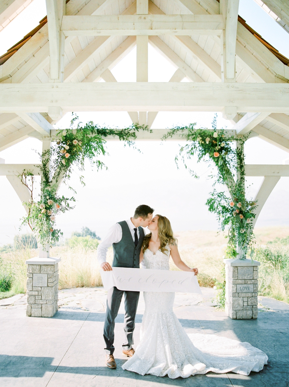 Sanctuary Gardens Kelowna Wedding | Elopement Photography | Calligraphy wedding banner we eloped | bride and groom portraits | Justine Milton Fine Art Film Wedding Photographers