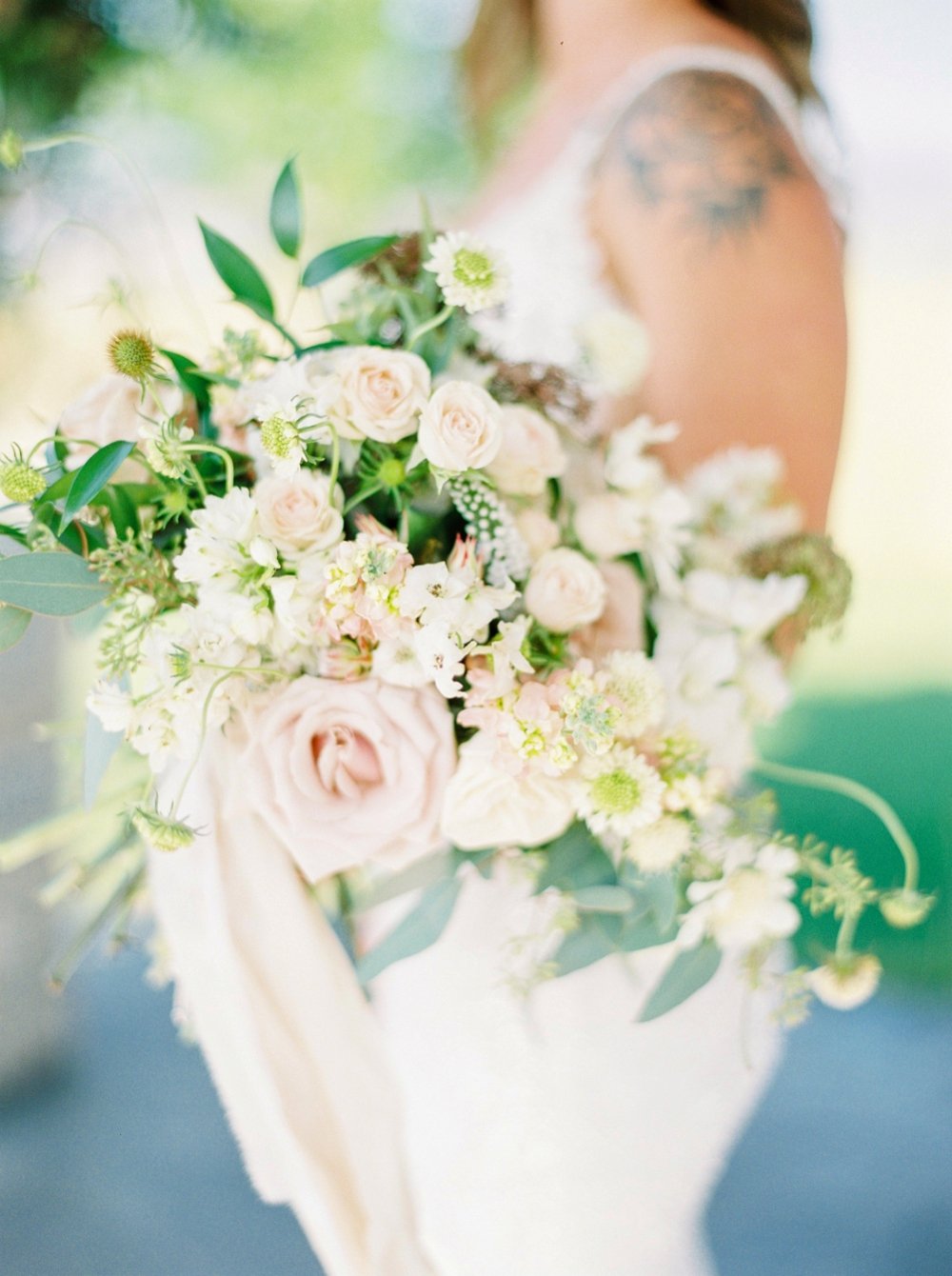 Sanctuary Gardens Kelowna Wedding | Elopement Photography | Bridal Portraits wedding bouquet details | Justine Milton Fine Art Film Wedding Photographers