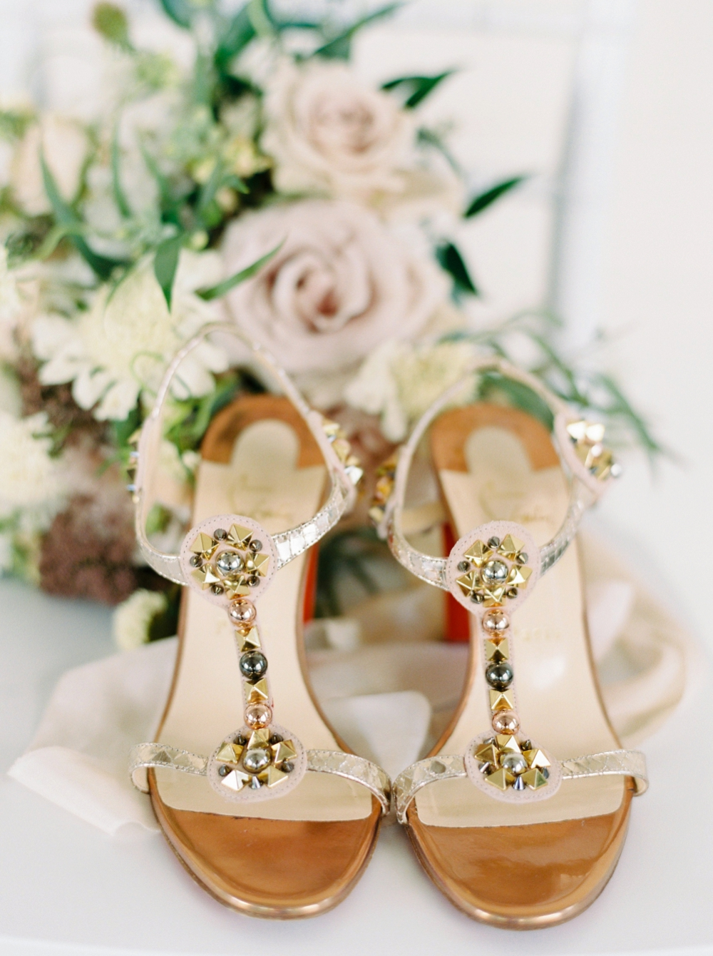 Sanctuary Gardens Kelowna Wedding | Justine Milton Fine Art Film Wedding Photographers | christian Louboutin chunky heel wedding shoes rose gold