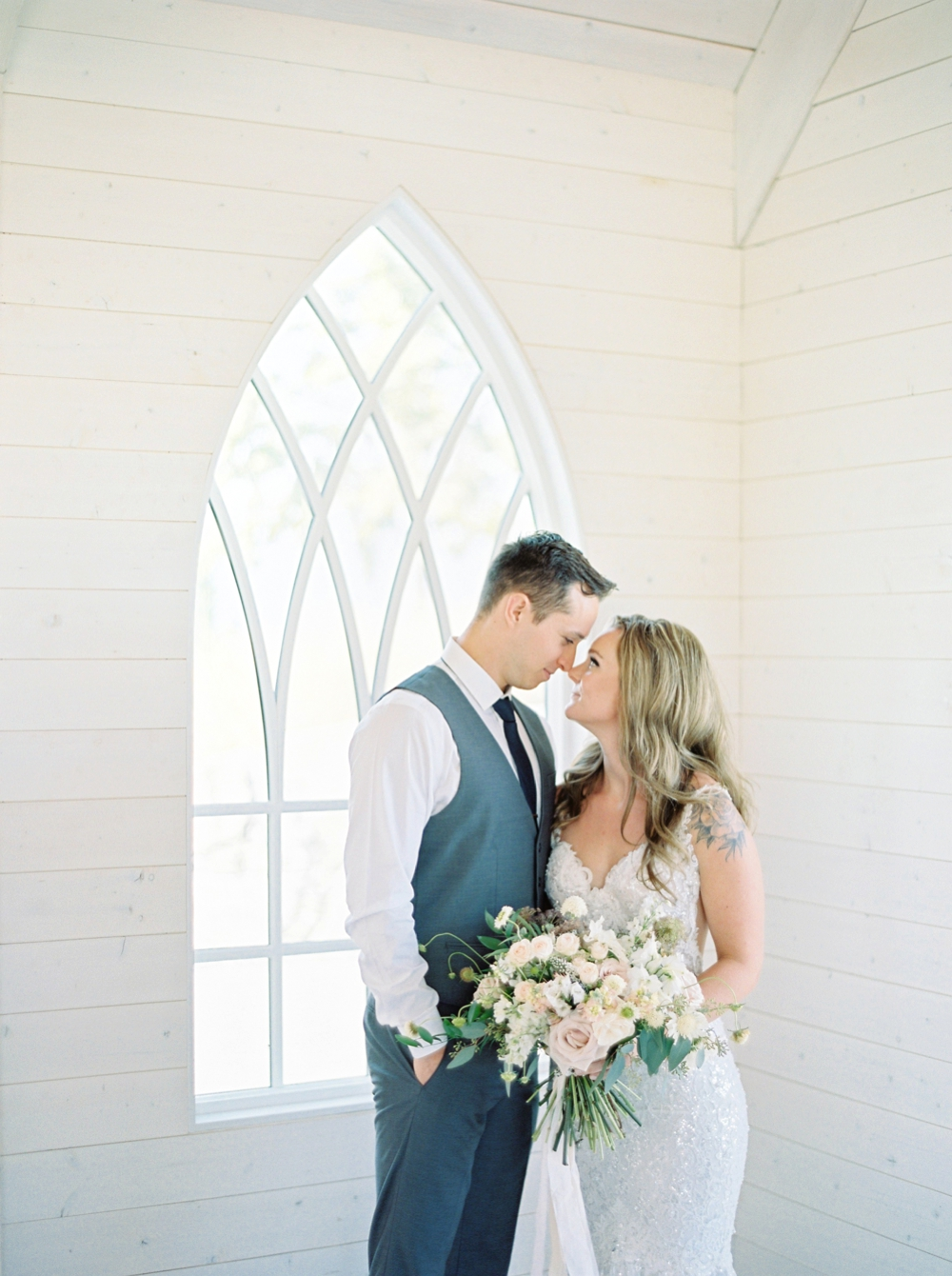 Sanctuary Gardens Kelowna Wedding | Elopement Photography | Bride and groom Portraits | Justine Milton Fine Art Film Wedding Photographers