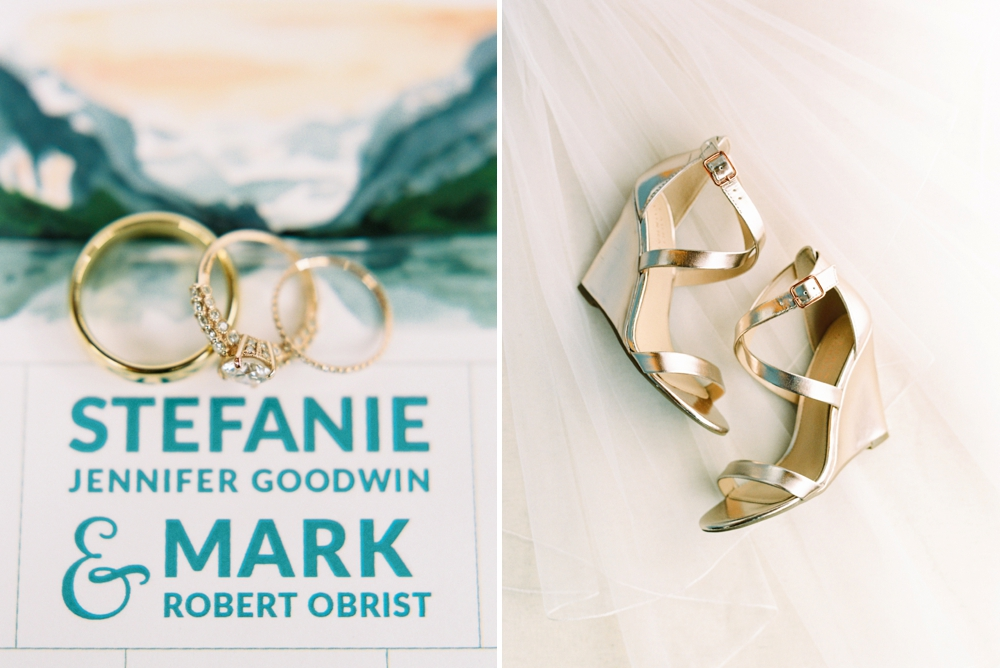 Banff Wedding Photographers | Wedding invitation suite water color painting wedding rings and bridal shoes | Justine Milton fine art film photographers