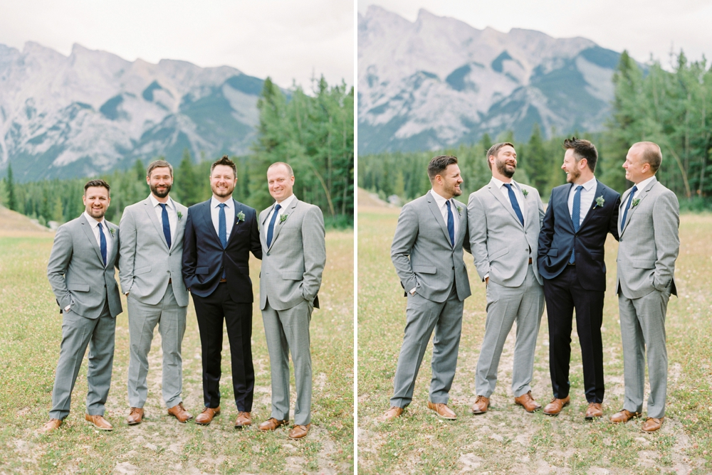 Banff Wedding Photographers | Banff tunnel mountain reservoir | wedding party navy blue | Justine Milton fine art film photographers