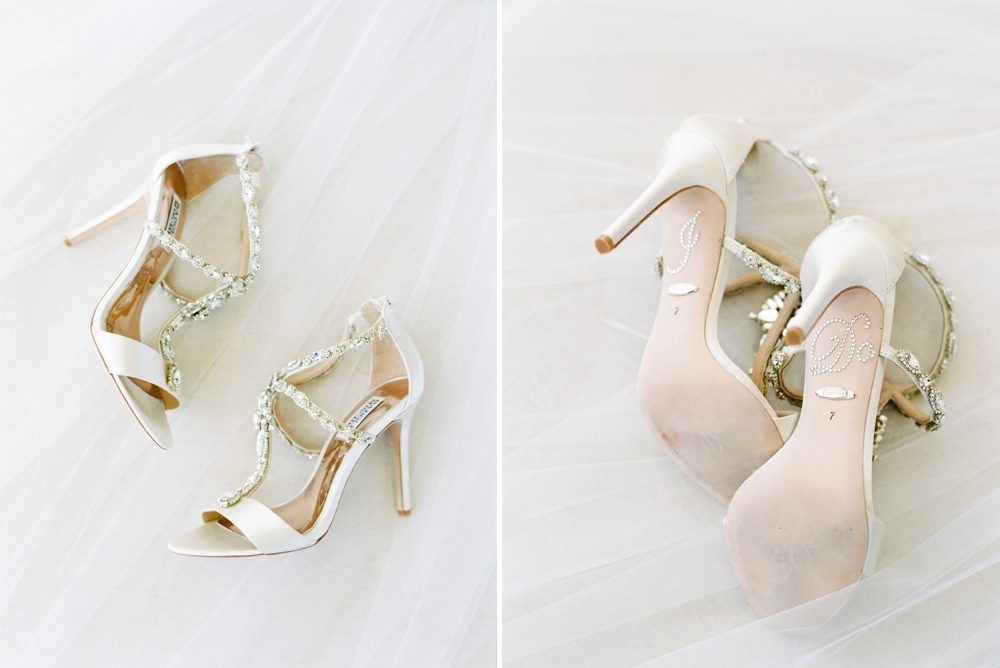 Bride Getting ready wedding details badgley mischka wedding shoes with IDO stickers | Banff Wedding Photographers | Justine Milton fine art film photography