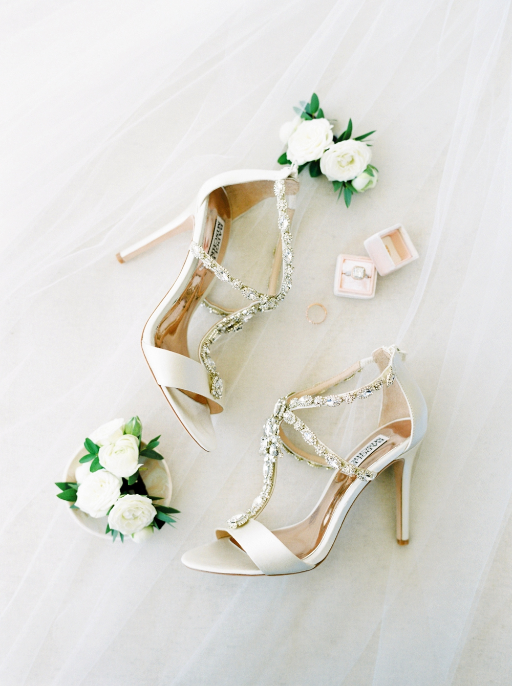 Bride Getting ready wedding details badgley mischka wedding shoes | Banff Wedding Photographers | Justine Milton fine art film photography