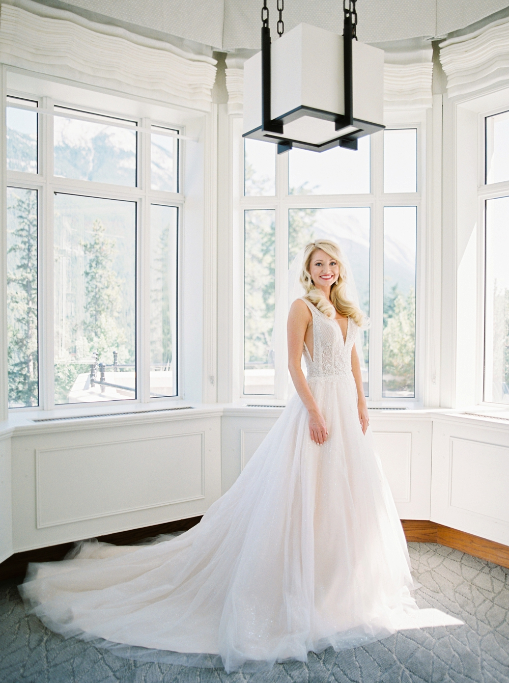Bride Getting ready bridal portraits at the Fairmont Banff Springs | Banff Wedding Photographers | Justine Milton fine art film photography