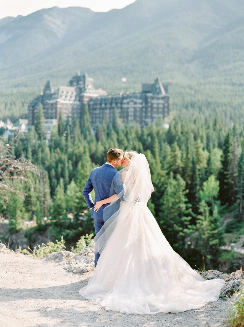 Bride and Groom portrait Surprise Corner Fairmont Banff Springs Hotel | Banff Rocky Mountain Wedding Photographers | Justine Milton fine art film photography