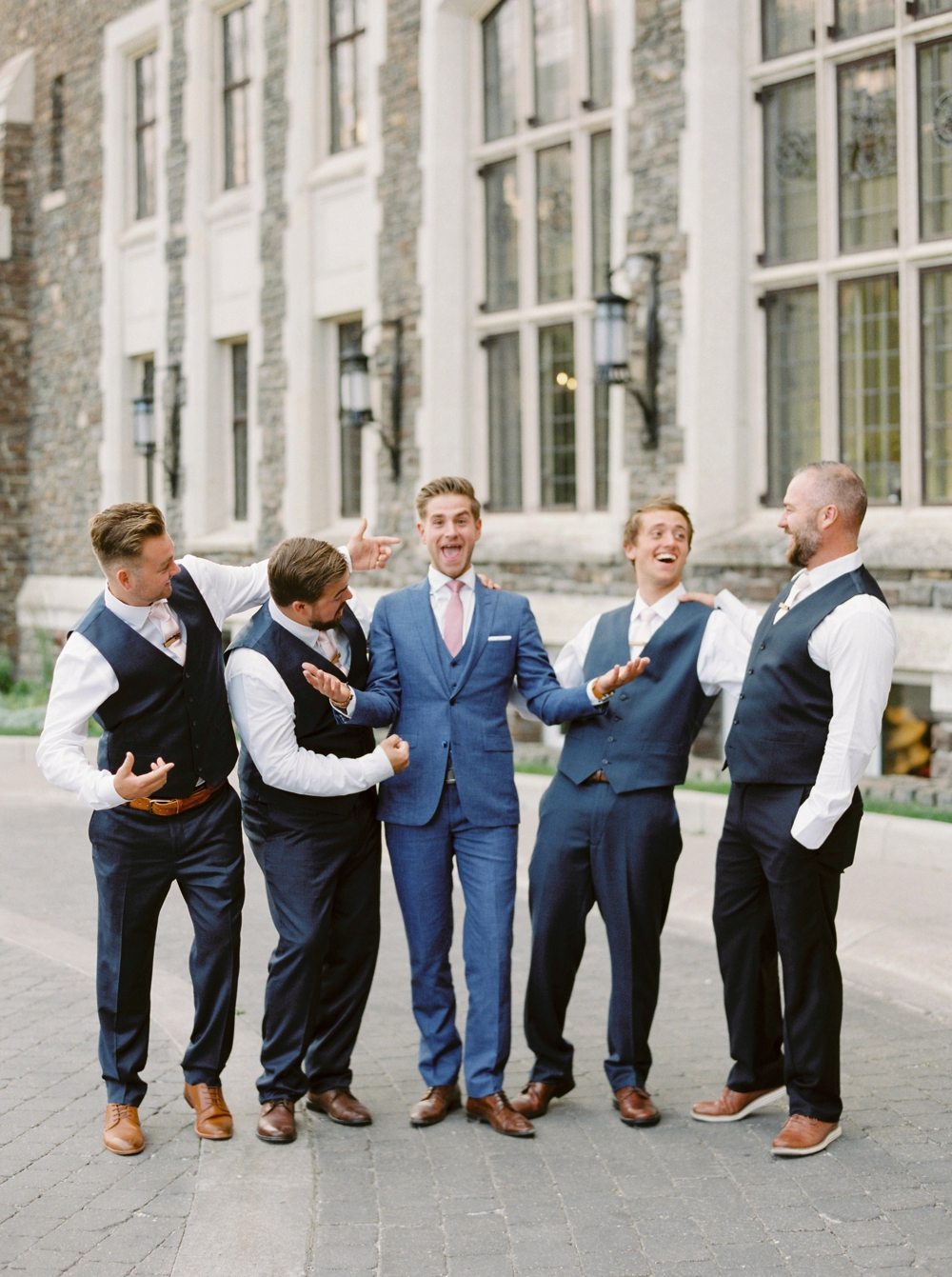 Groom portrait at Fairmont Banff Springs Hotel | Banff Rocky Mountain Wedding Photographers | Justine Milton fine art film photography