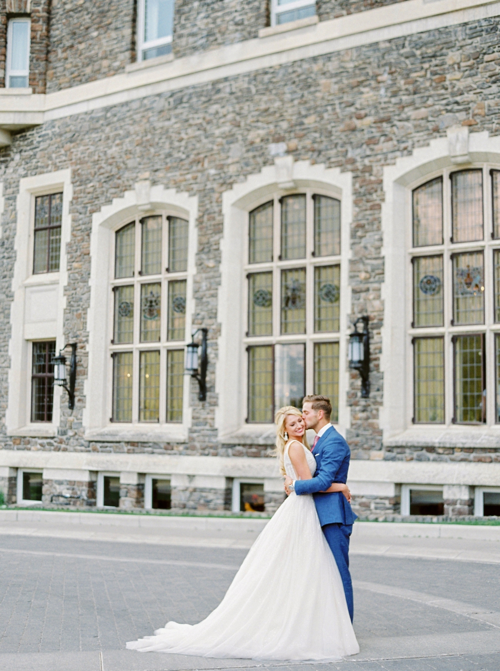 Bride and Groom portrait at Fairmont Banff Springs Hotel | Banff Rocky Mountain Wedding Photographers | Justine Milton fine art film photography