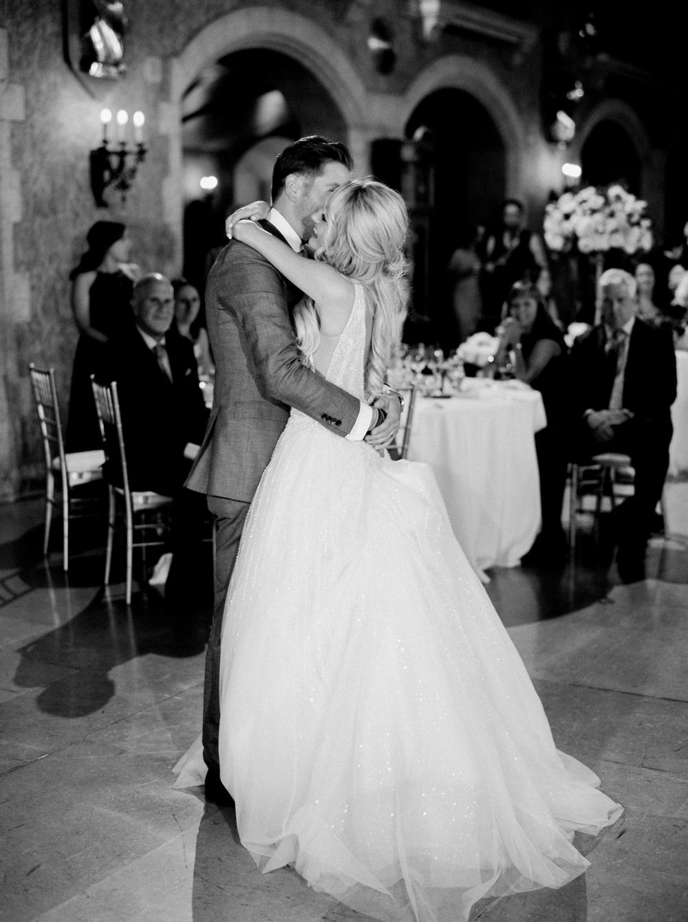 Mt Stephen Hall Reception First Dance at Fairmont Banff Springs Hotel | Banff Rocky Mountain Wedding Photographers | Justine Milton fine art film photography