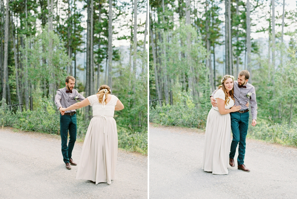 Calgary Canmore and Banff Rocky Mountain Wedding Photographer | Kananaskis Mountain Intimate wedding elopement | Justine Milton Photography | First Look Reaction