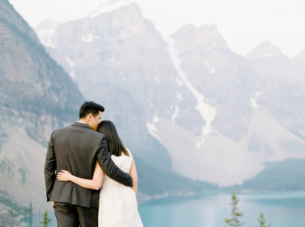 Banff Lake Louise wedding photographers | Engagement Session | Moraine Lake | Justine Milton Fine Art Film Photography